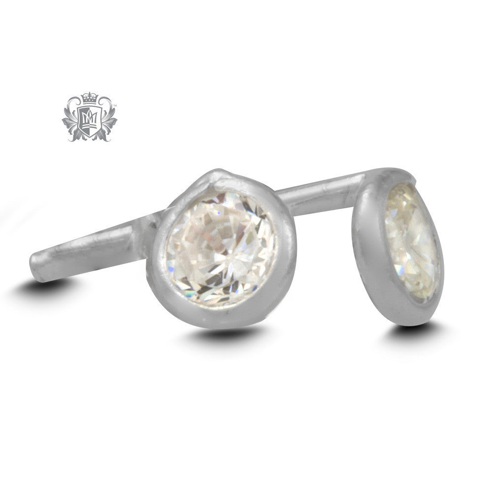 Birthstone Stud Earrings - April/Classic CZ Gemstone Earrings - 5