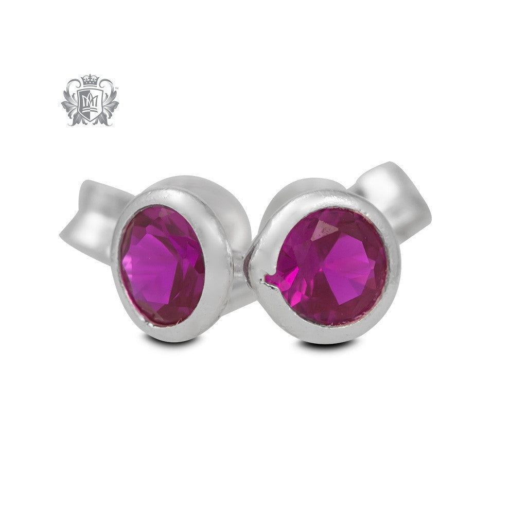 Birthstone Stud Earrings - July/Ruby CZ Gemstone Earrings - 8