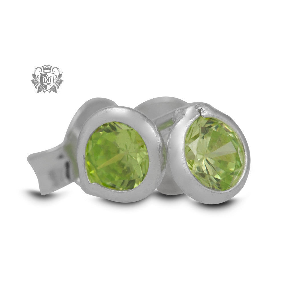 Birthstone Stud Earrings - August/Peridot CZ Gemstone Earrings - 10