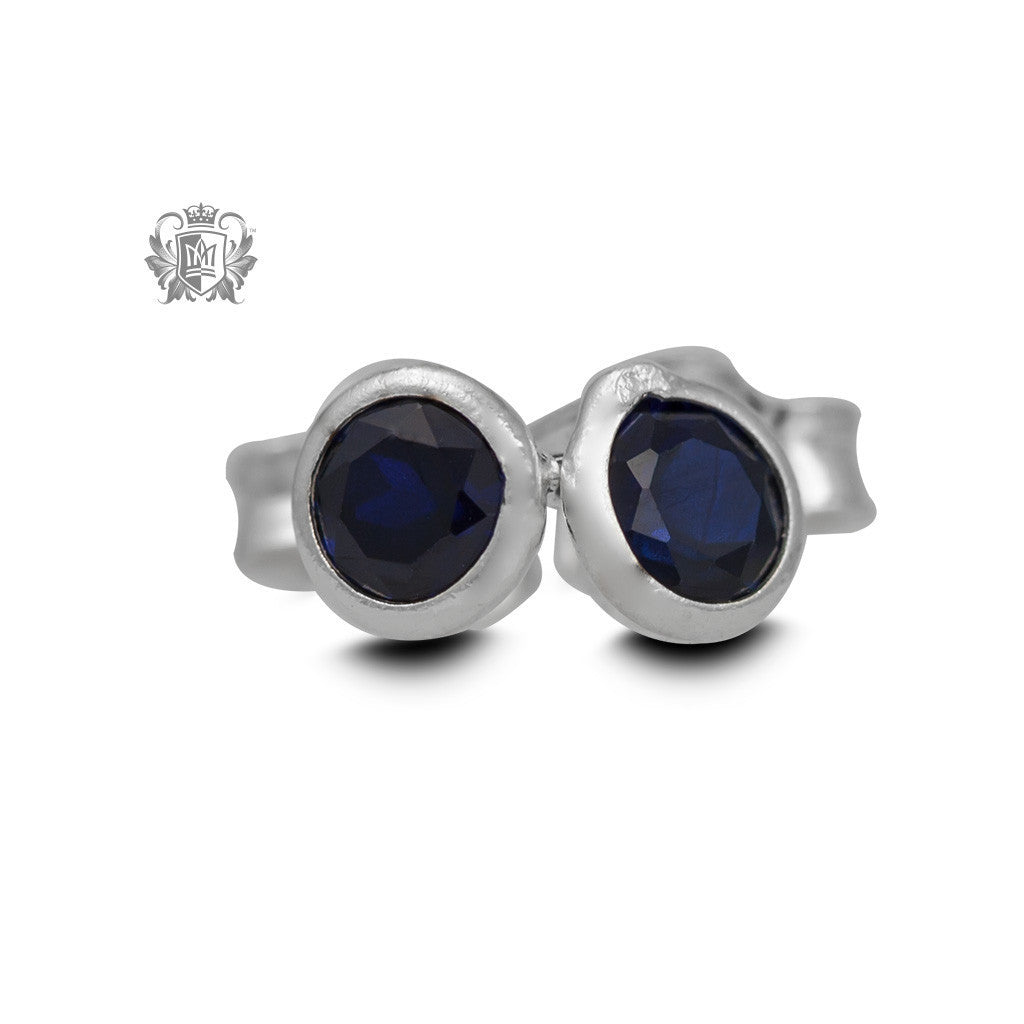 Birthstone Stud Earrings - September/Sapphire CZ Gemstone Earrings - 11