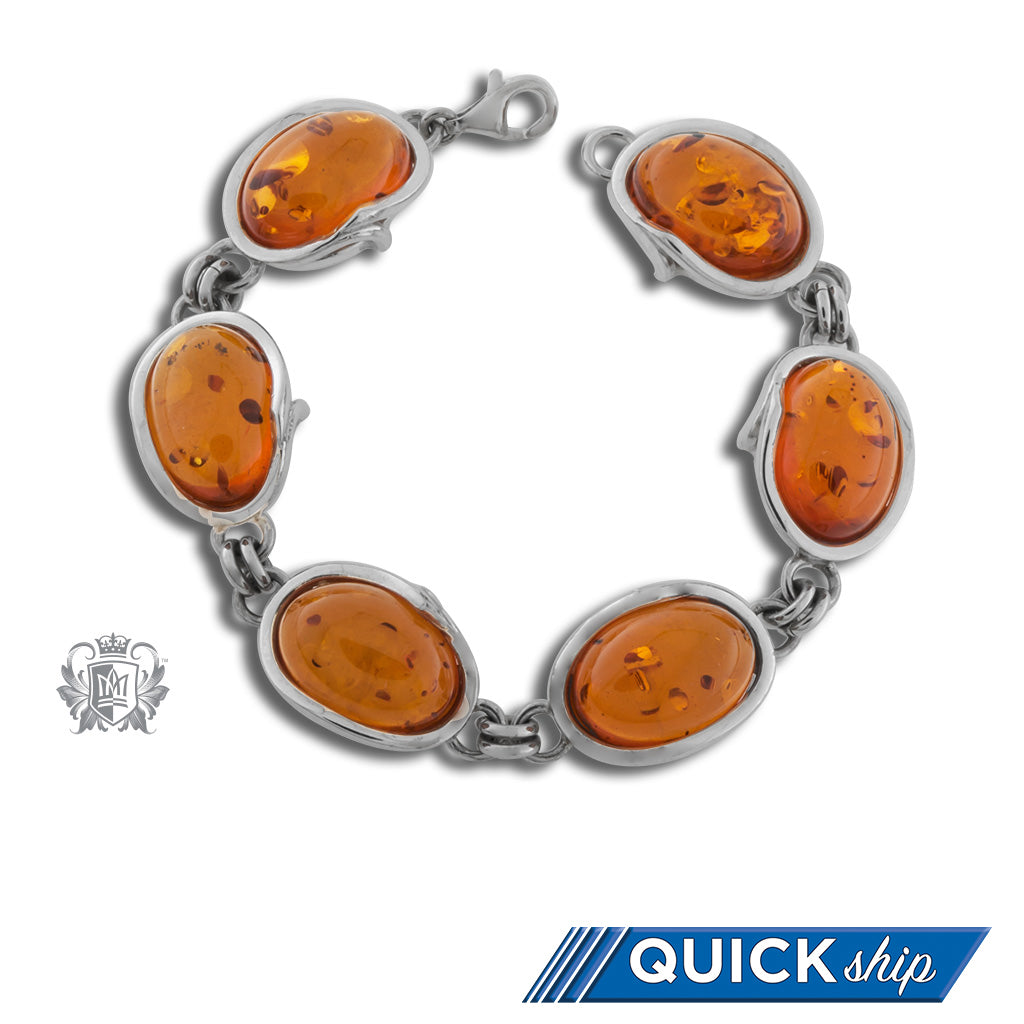 Freeform Wrapped Amber Bracelet Metalsmiths Sterling Silver