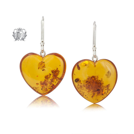Amber Heart Hanger Sterling Silver Earrings -1