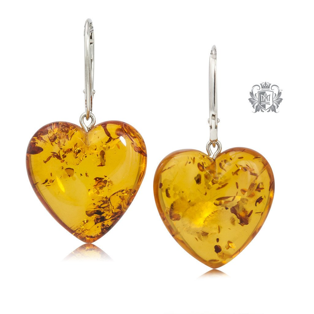 Amber Heart Hanger Sterling Silver Earrings -3