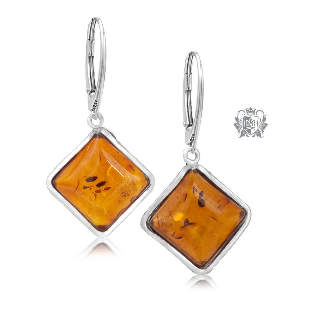 Offset Square Amber Hanger Earrings