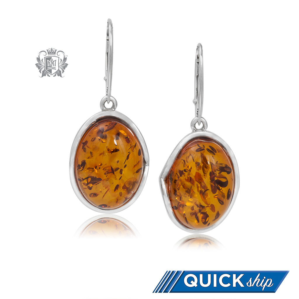 Curved Wrapped Golden Cognac Amber Earrings