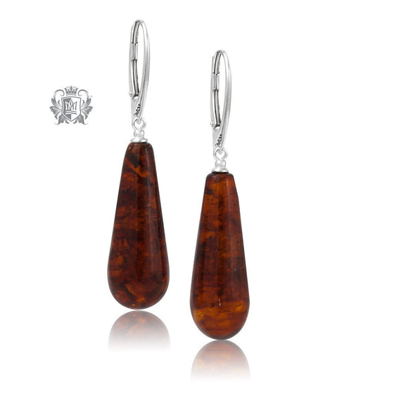 Cognac Amber Sterling Silver Drop Earrings