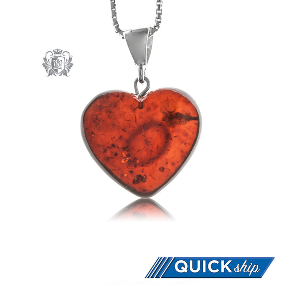 Large Heart Amber Pendant with Classic Sterling Silver Bail