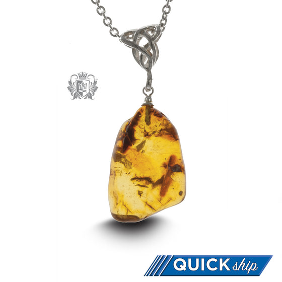Honey Amber Celtic Knot Pendant