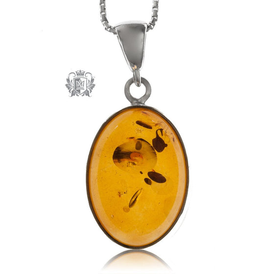 Perfectly Modern Oval Amber Pendant