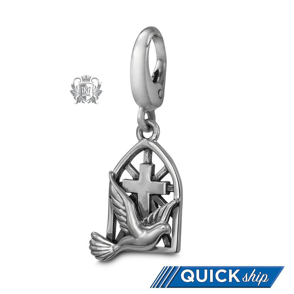 QUICK SHIP Dove Cross Charm -  Charm