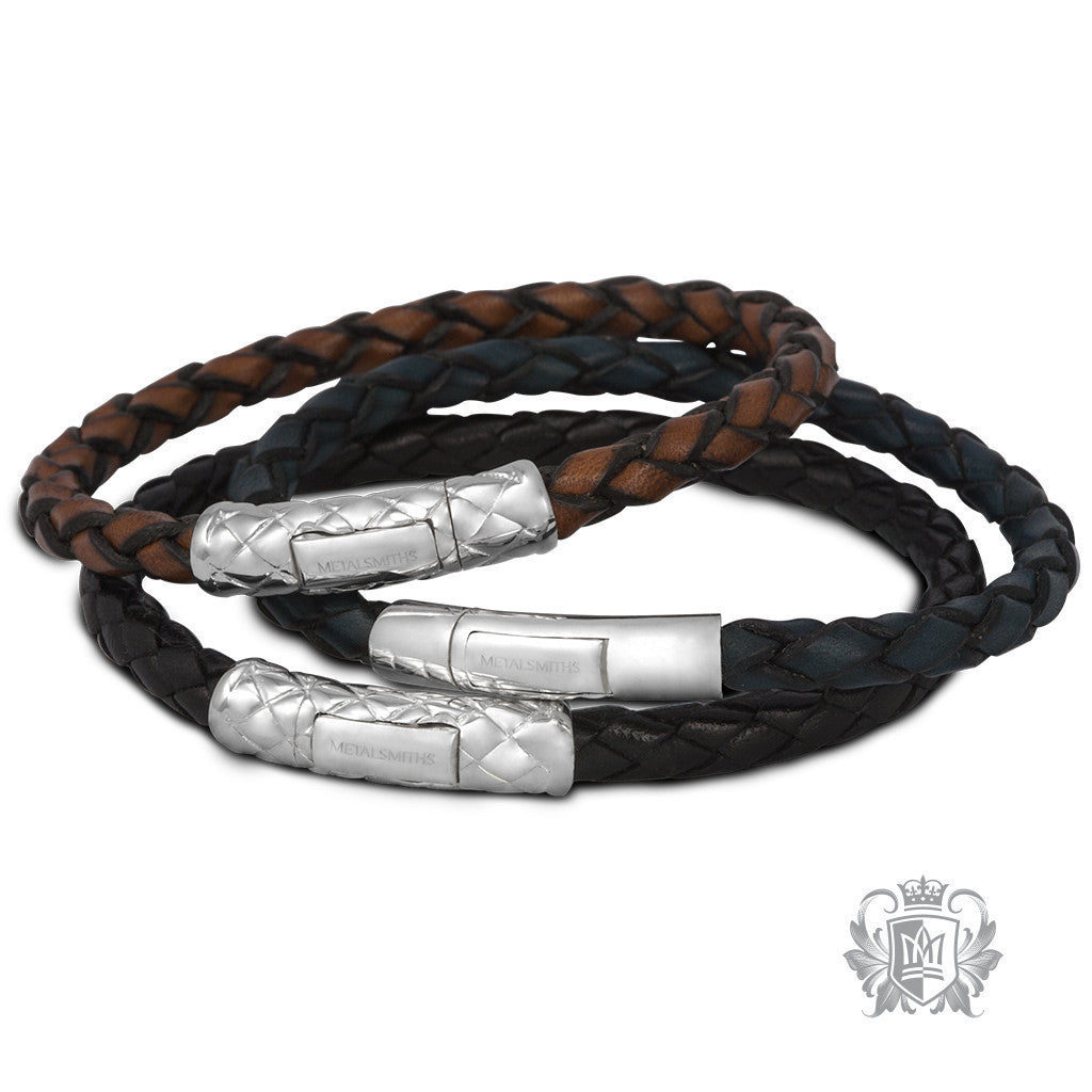Braided Leather Bracelet with Braided Sterling Silver Clasp for Him -  Bracelets - 3
