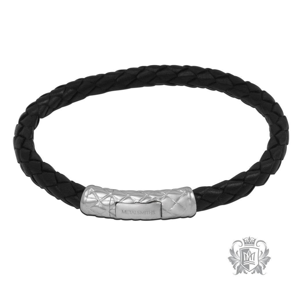 Braided Leather Bracelet with Braided Sterling Silver Clasp for Him - Black Bracelets - 2