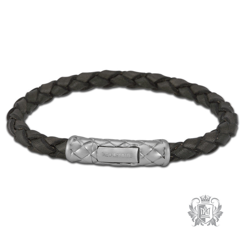 Braided Leather Bracelet with Braided Sterling Silver Clasp for Him - Grey Bracelets - 4