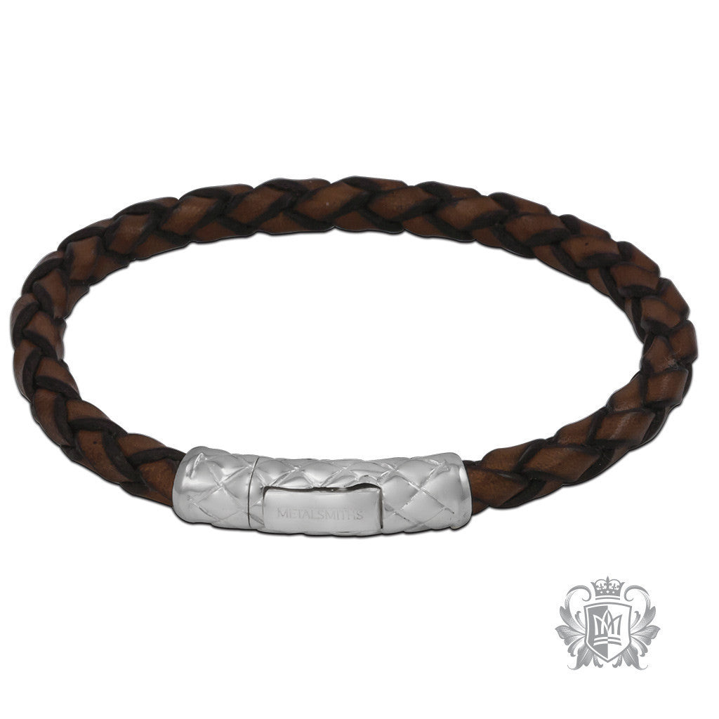 Braided Leather Bracelet with Braided Sterling Silver Clasp for Him - Tan Bracelets - 1