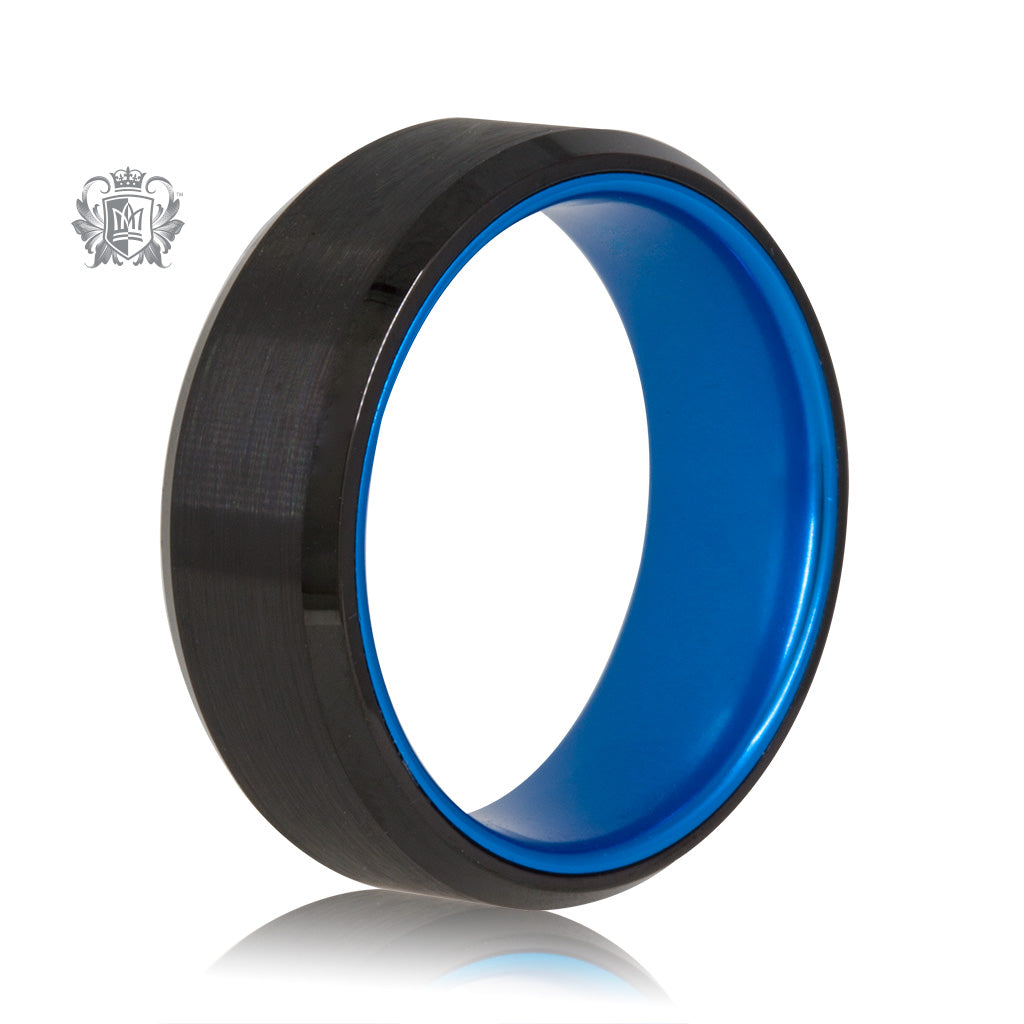 Black/Blue Tungsten Bright Inside Band - SAMPLE