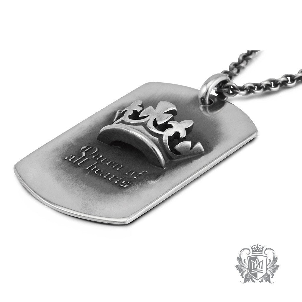 Metalsmiths Sterling Silver Tattoo Queen Dog Tag Necklace - side