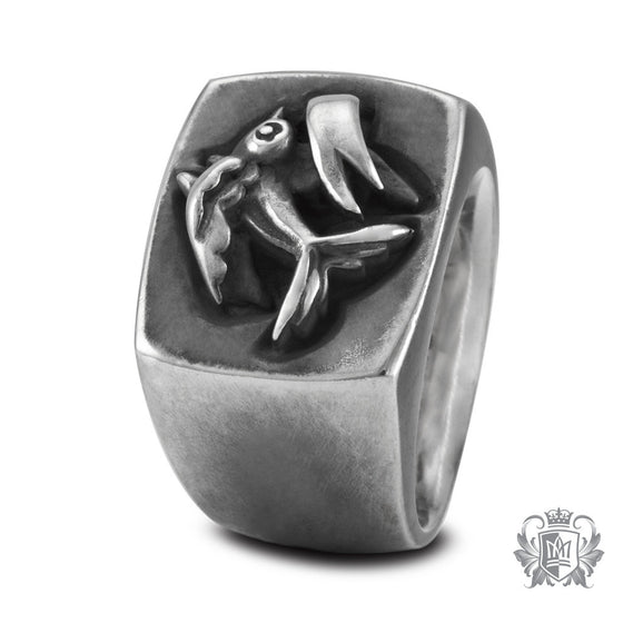 Metalsmiths Sterling Silver Tattoo Sparrow Signet Ring - side