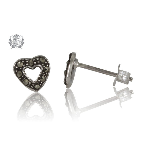 Marcasite Open Heart Studs Metalsmiths Sterling Silver