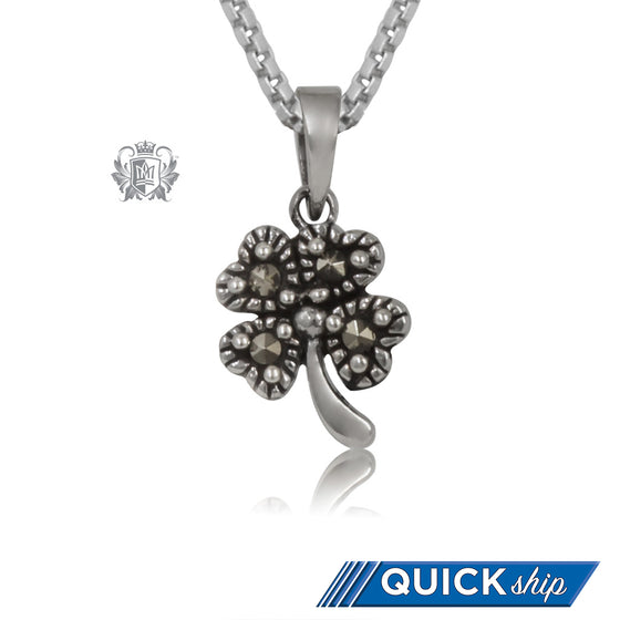 Quick Ship Sterling Silver Marcasite Lucky Clover Pendant