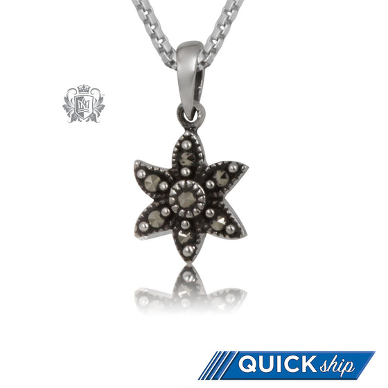Quick Ship Sterling Silver Marcasite Flower Pendant