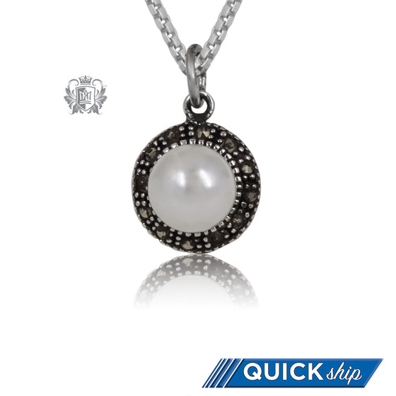 Sterling Silver Marcasite Pearl Pendant Quick Ship
