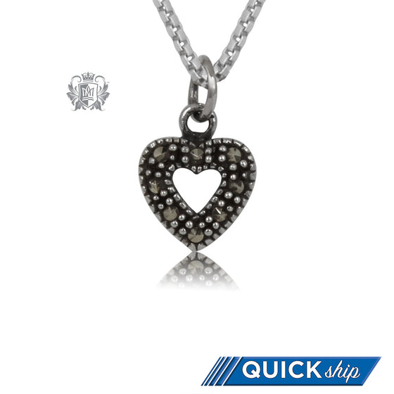 Sterling Silver Marcasite Open Heart Pendant Quick Ship