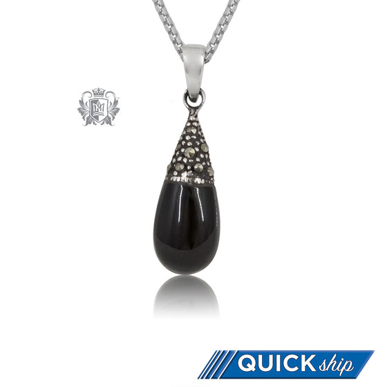 Sterling Silver Marcasite & Black Enamel Pear Pendant Quick Ship