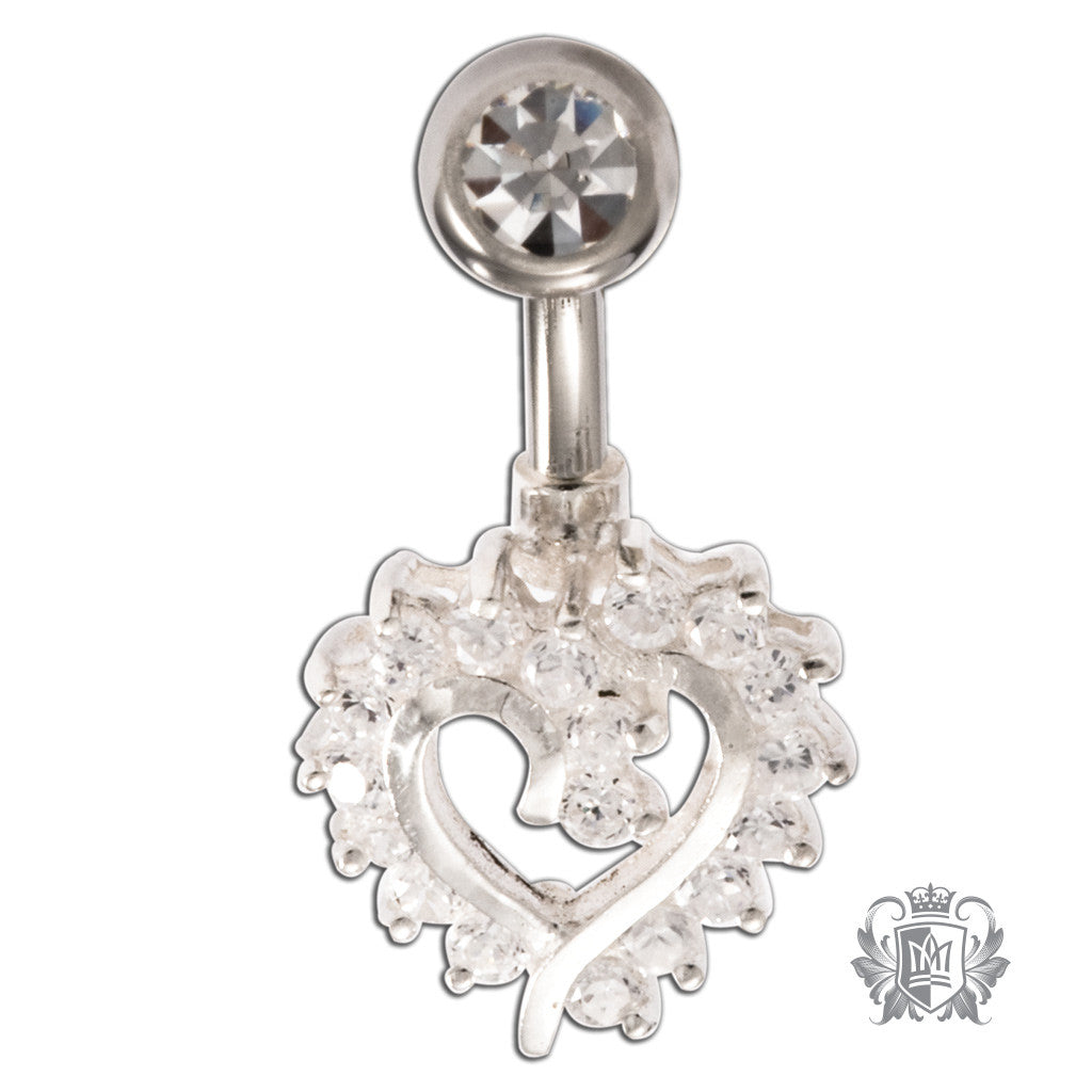Metalsmiths Sterling Cubic Heart Belly Ring