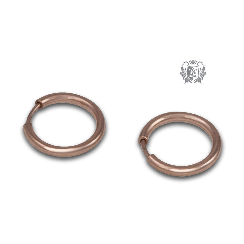 Classic Sleeper Hoops - Rose gold dipped sterling silver / 10mm Hoop Earrings - 6