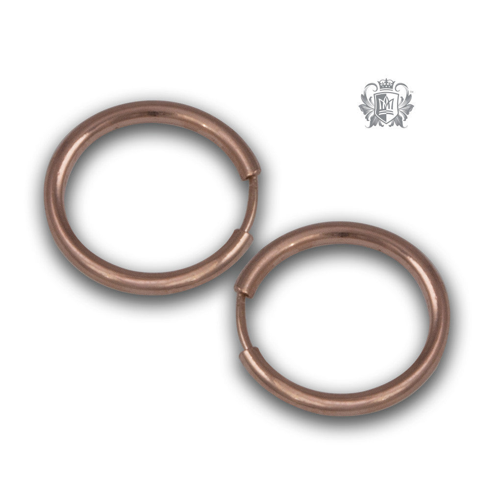 Classic Sleeper Hoops - Rose gold dipped sterling silver / 12mm Hoop Earrings - 7