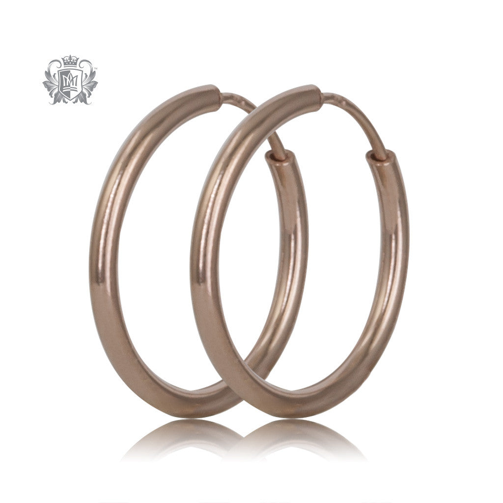 Rose Gold  14mm Sterling Silver Sleeper Hoops