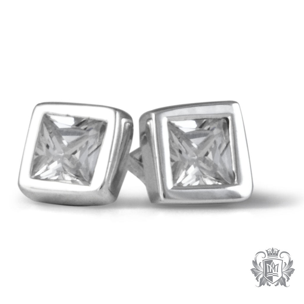 Side Square Cubic Bezel Set Studs Metalsmiths Sterling Silver