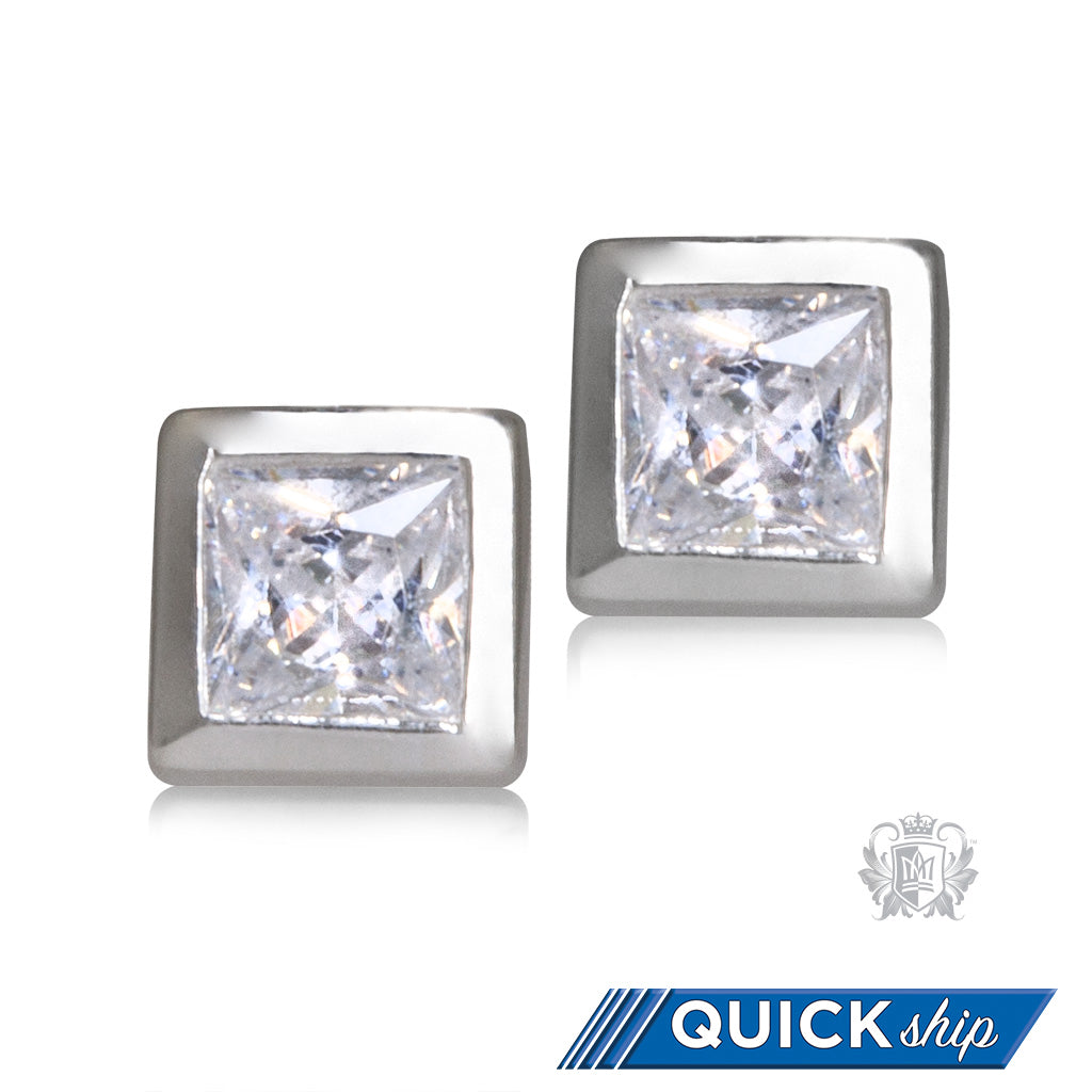 Square Cubic Bezel Set Studs - Quick Ship