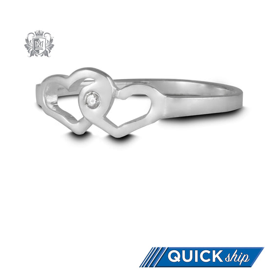 Quick Ship Double Heart Ring with Diamond - Metalsmiths Sterling™ Canada