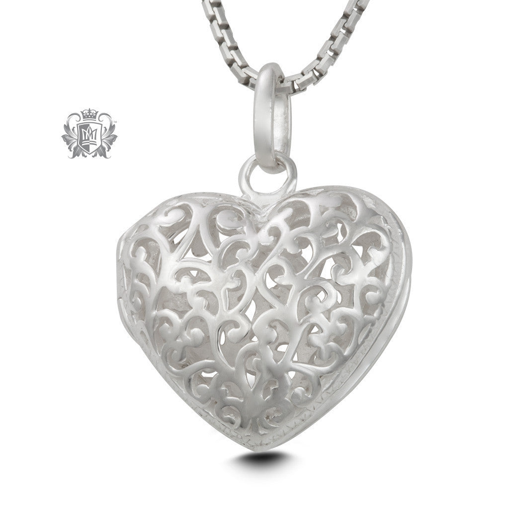 Filigree Heart Locket - 18 inch chain Heart Pendant - 1