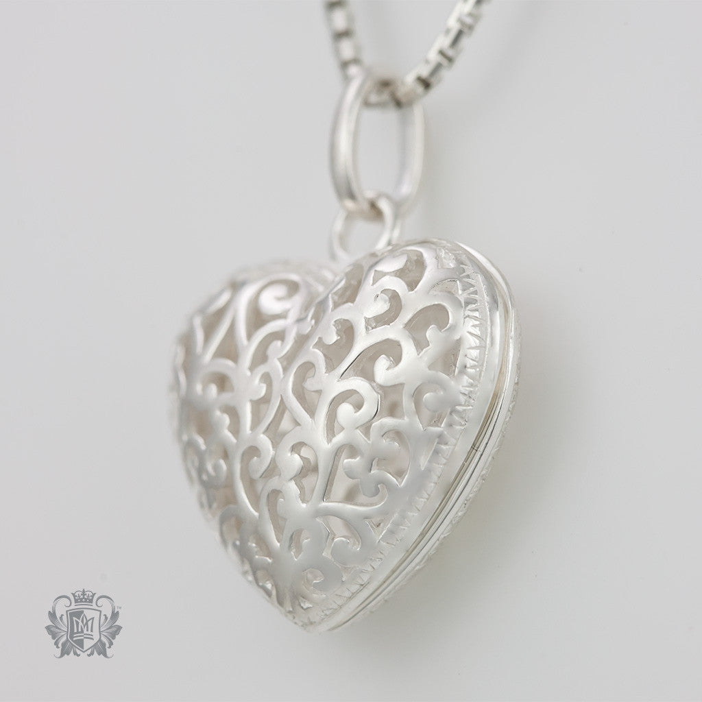 Filigree Heart Locket -  Heart Pendant - 2