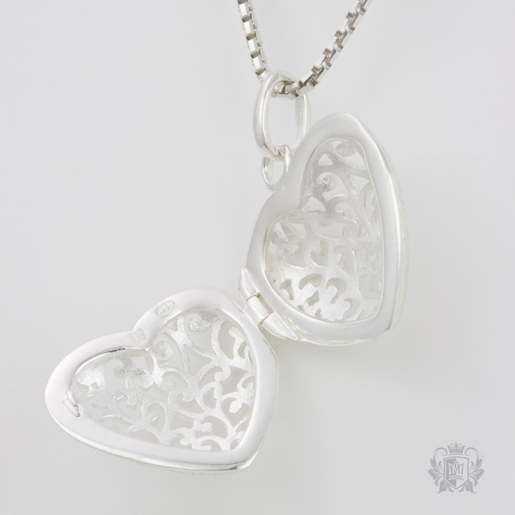Filigree Heart Locket -  Heart Pendant - 3