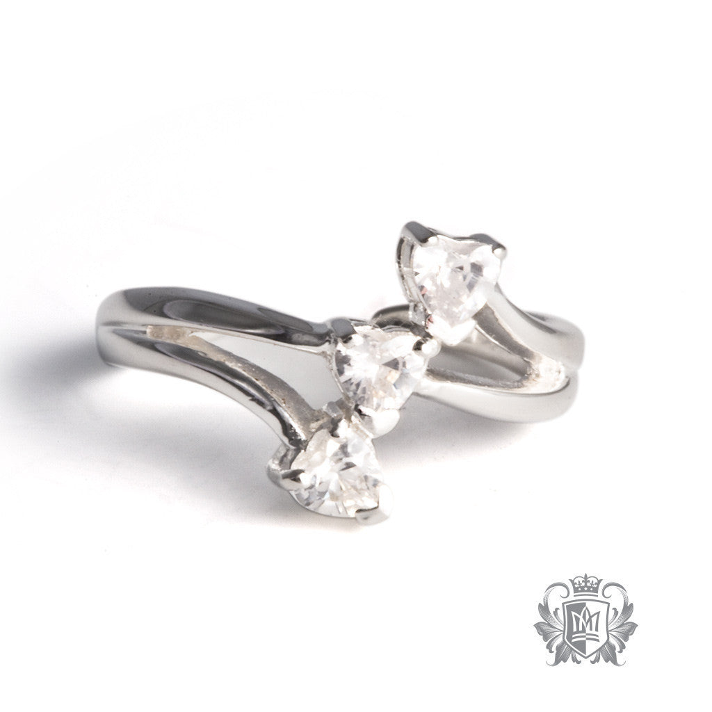 Triple Stone Cubic Toe Ring -  Body Jewelry