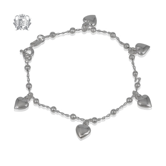 Metalsmiths Sterling Dangling Heart Bracelet