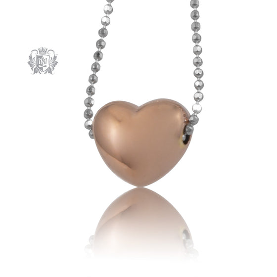 Puffy Heart Slider Necklace Rose Gold Dipped