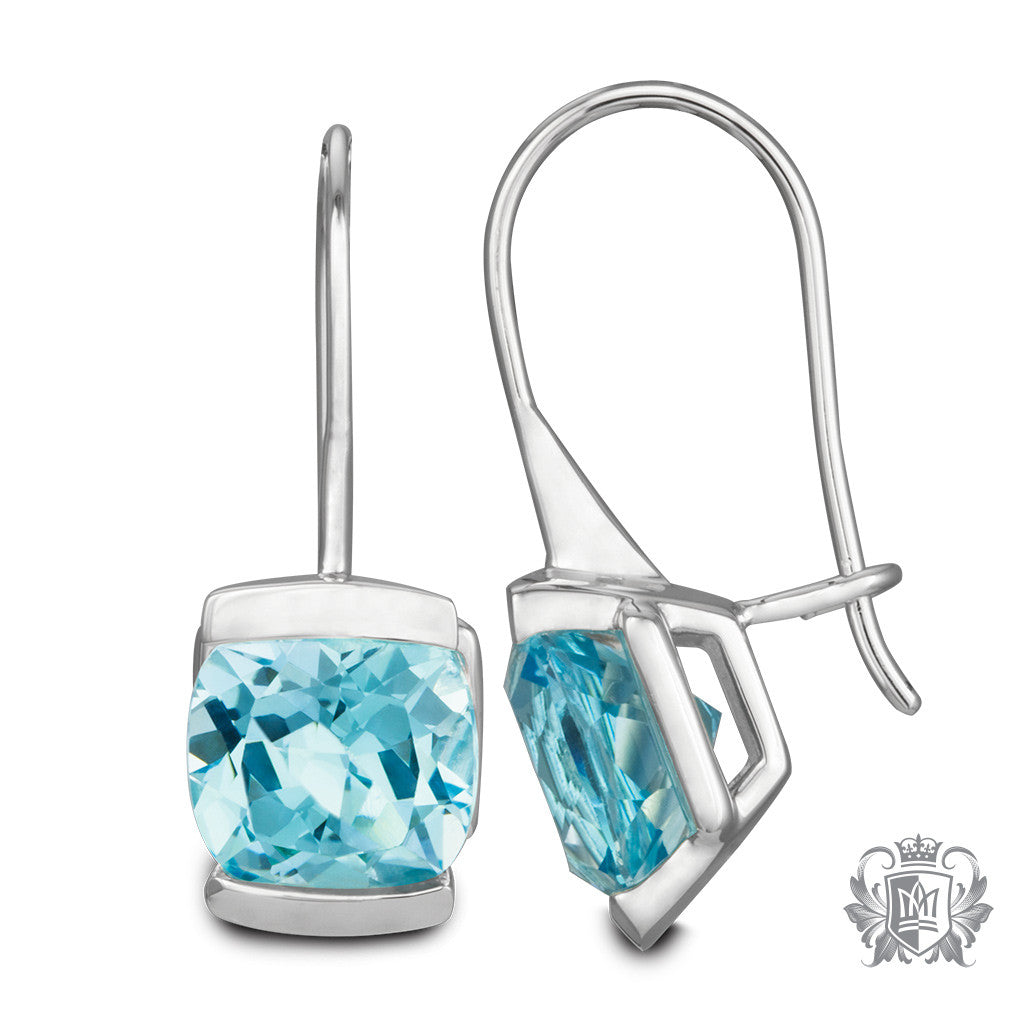 Metalsmiths Sterling Silver Blue Topaz Cushion Channel Set Hanger Earrings