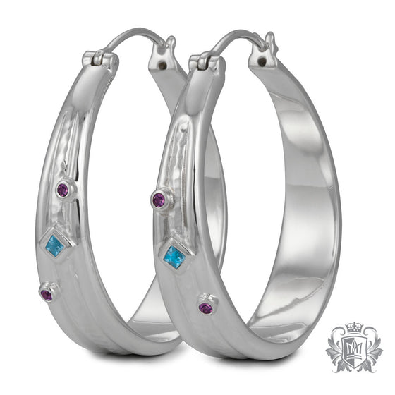 Metalsmiths Sterling Silver Hammered and Sleek Hoops with Bezel Set Accents