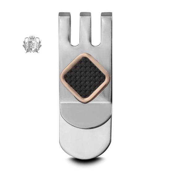 Stainless Steel Money Clip with Carbon Fiber & Rose Gold