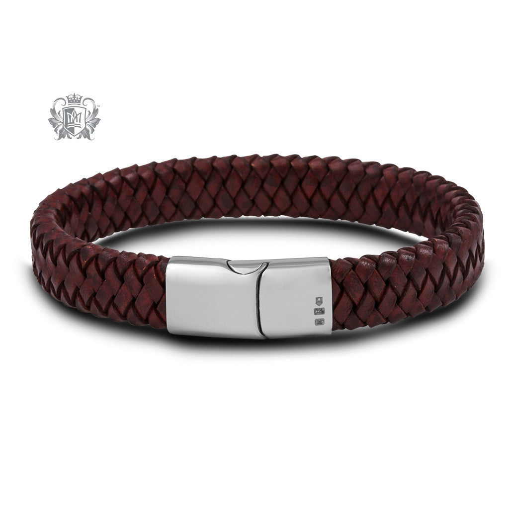 Flat Braided Leather Bracelet with Stainless Steel Clasp - Cherry Bracelets - 4