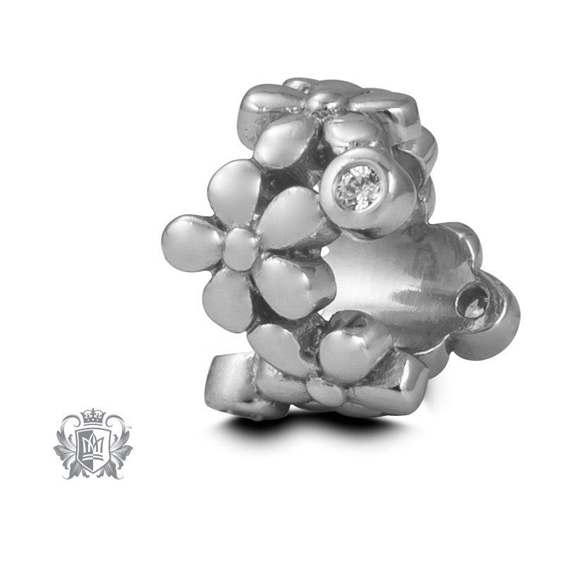 Cubic Flower Embrace Charm - Sterling silver Embrace Charm - 2
