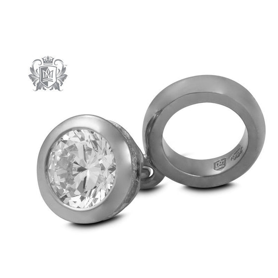 Cubic Domed Dangling Embrace Charm - Sterling silver Embrace Charm - 1