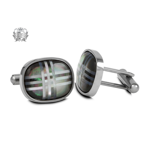 Stainless Steel Crosshatched Mother of Pearl Cufflinks -  Cufflinks
