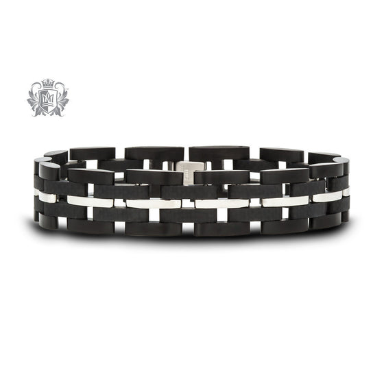 Stainless Steel Link Bracelet with Chrome Stripe -  Bracelets