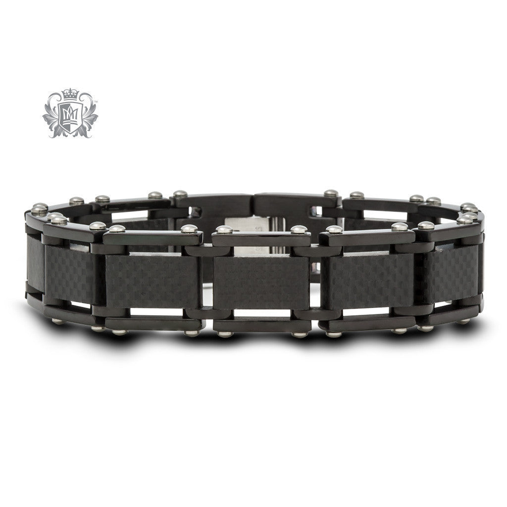 Stainless Steel Link Bracelet with Carbon Fiber Accent -  Bracelets