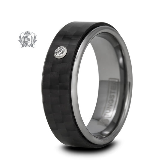 Tungsten Black Carbon Fiber with Cubic Accent - size 8 Tungsten Rings